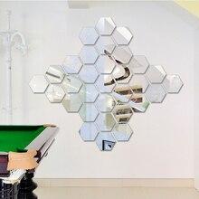 12 шт./компл. шестиугольная 3D зеркала стены Стикеры s Ресторан Проход пол личности декоративное зеркало вставить Гостиная Стикеры