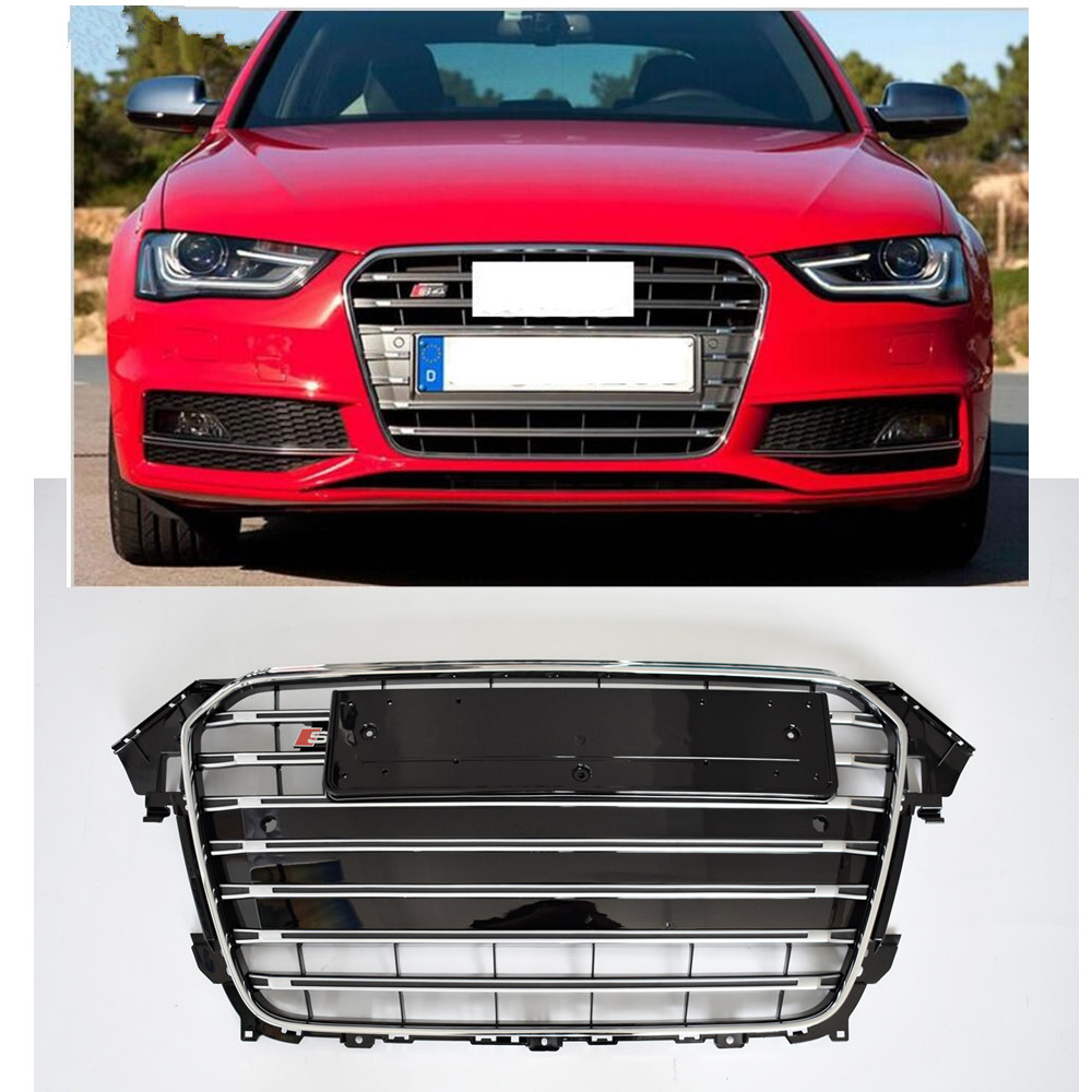 A4 s4 racing grills chrome abs k hlergrill geeignet f r audi a4 s4 rs4 s linie 2012 2015 b8 avant alle stra e sport