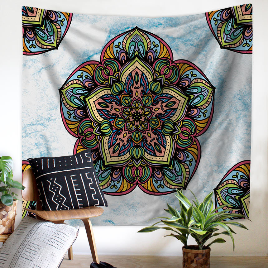 Image 2 - Tapestry Mandala Flower Wall Hanging Farmhouse Home Decor Boho Bohemian Psychedelic Ceiling Window Blanket Bedspread Beach Towel-in Tapestry from Home & Garden