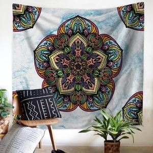 Image 2 - Tapiz colgante de pared de flores para el hogar, decoración Bohemia psicodélica para el techo, ventana, colcha, toalla de playa