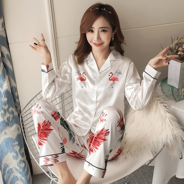 8528281ba Autumn Women Ladies Sexy Satin Silk Pajamas Sets Long Sleeve Tops+ ...