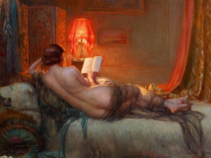 Free Shipping Classical Sexy Women Reading Book Nude Art -2389