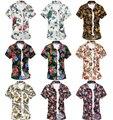 24 Colores Nuevos 2016 Hombres Impreso Floral Camisetas de Verano de Manga Corta masculino Casual Camisa de la Playa Más Tamaño Tops 4XL 5XL 6XL W663