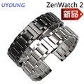 Para asus zen watch qualidade 2 faixas de relógio de aço inoxidável sólido 22mm substituição de metal pulseira