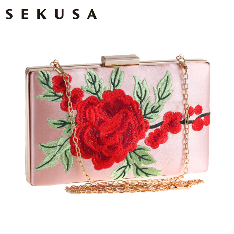 Vintage Embroidery Rose Printed Floral Women Evening Bag Pink White Black Evening Bag Messenger Chain Shoulder Small Handbags чехол для iphone 5c icover vintage rose ipm hp w vr pk white pink