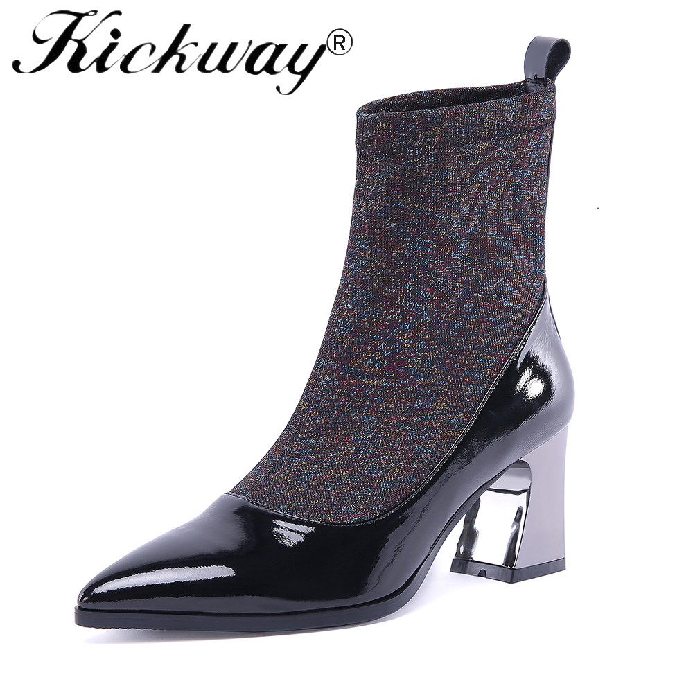 Kickway Sexy Black Women Stretch Ankle Boots Pointed Toe Slip On Botas High Heels Elastic Sock Ankle Booties Large Size 34-42 цена 2017