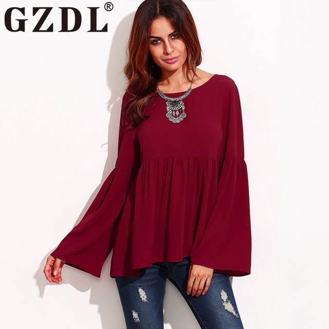 Gzdl Burgundy Color Blouse Women S Fashion Style Flare Long Sleeve O