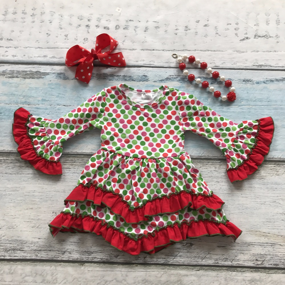 girls baby kids clothes cotton Fall Winter ruffles colorful polka dot dress boutique flare sleeve matching bow and necklace baby girls short sleeve dress girls kids polka dot dress clothes overalls dress