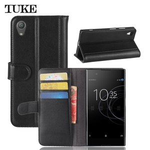 Image 2 - TUKE Genuine Leather Flip Case for Sony XA1 Plus Wallet Stand Cover For Sony Xperia XA1+ G3421 G3423 SM11L G3412 G3416 Phone Bag