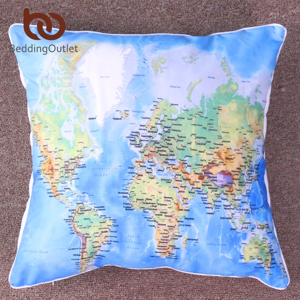 Beddingoutlet World39s Map Vivid Printed Cushion Cover Blue