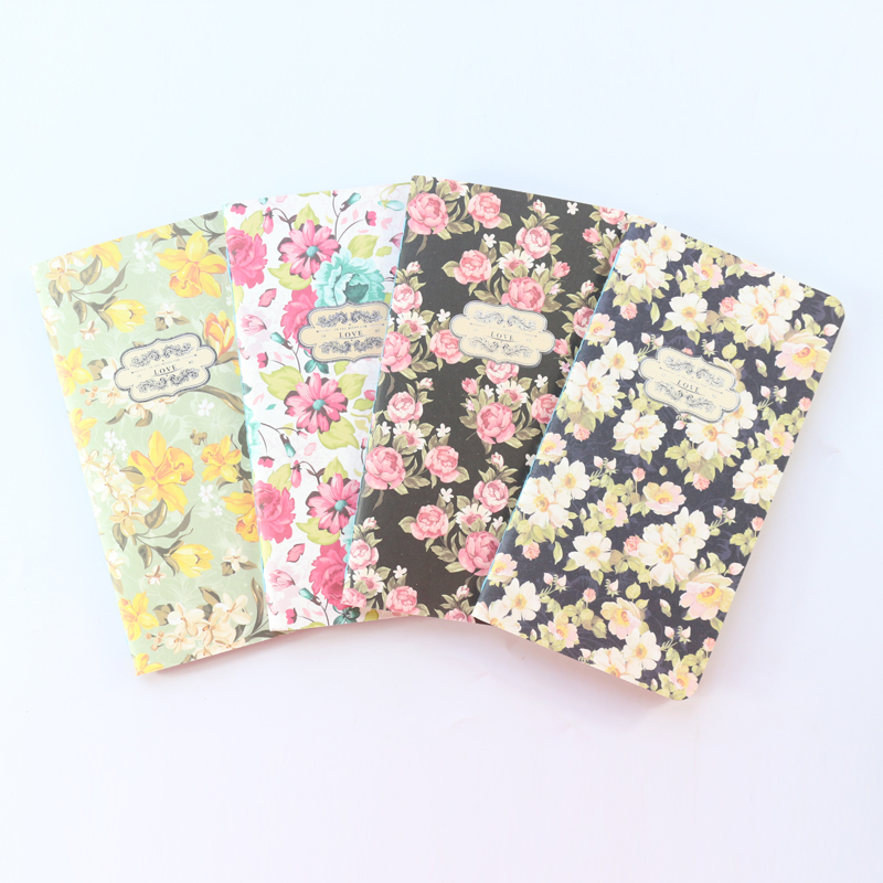 Domikee Cute Flower Theme Portable School Student Travel Journal Notebooks With Craft Papers Core For Girls Stationery,4 Pieces
