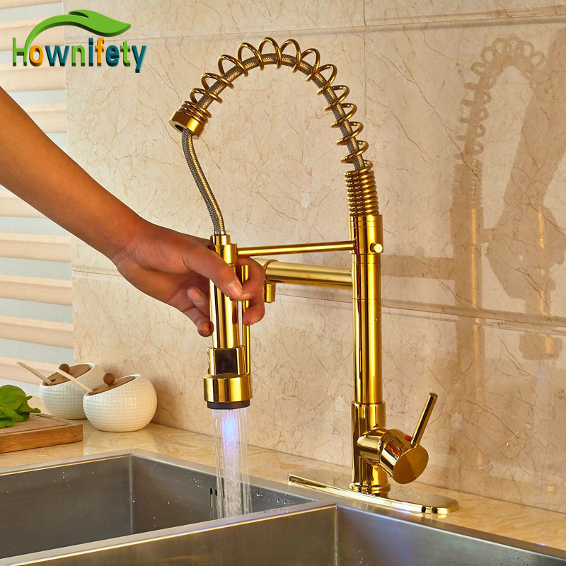 Contemporary LED Light Gold Finish Spring Kitchen Sink Faucet Pull Out Sprayer Mixer Tap newly arrived pull out kitchen faucet gold sink mixer tap 360 degree rotation torneira cozinha mixer taps kitchen tap