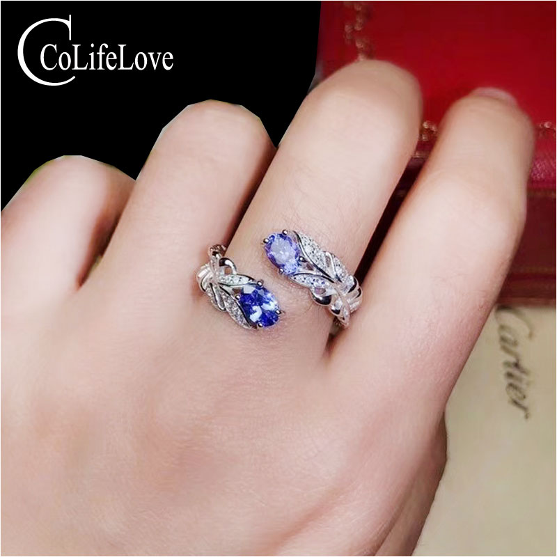 CoLife Jewelry Fashion Tanzanite Ring For Young Girl 2 Pieces Natural Tanzaite Silver Ring Elegant 925 Silver Gemstone Ring