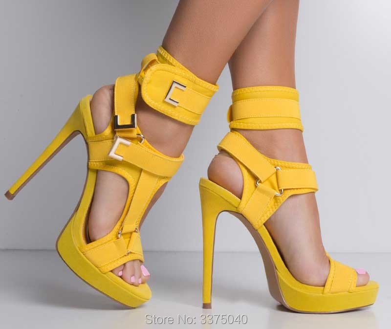 Ravryy Summer Platform Ankle Strap High Heel Sandals Gladiator Party Shoes Thin High Heels Female Cut-outs Yellow Women Shoes sales wedges platform shoes cut outs sandals ankle strap pumps high heels shoes rose embellished metallic leather cage sandals