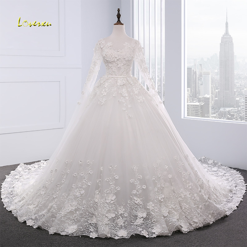 Loverxu Vestido De Noiva Long Sleeve Princess Wedding Dress 2018 Royal Train Appliques Beaded Lace Flowers Bridal Gown Plus Size