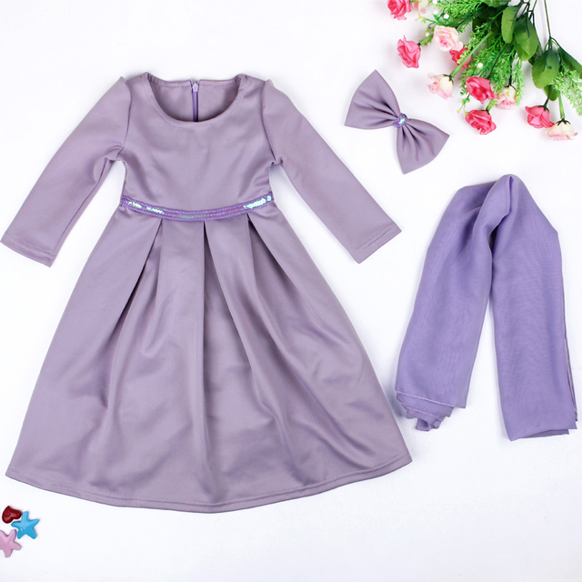 Girls Muslim Islamic Nation Dress Long Dress+Kerchief+Bowknot 3 piece Solid Muslim Kids Children's Clothing 5Colors Costume