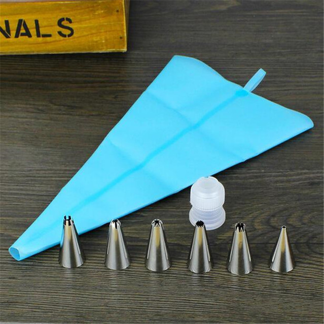 7pcs Silicone Icing Piping Pastry Bag 6pcs Stainless Steel Nozzle