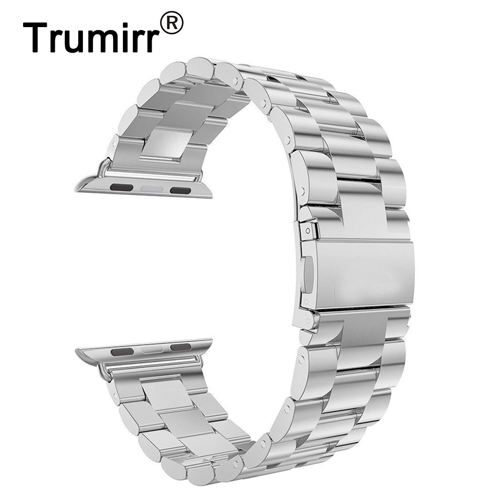 Original TRUMiRR correa de reloj de acero inoxidable para 38 mm 42 mm iWatch Apple Watch Band correa de repuesto pulsera pulsera plata negro
