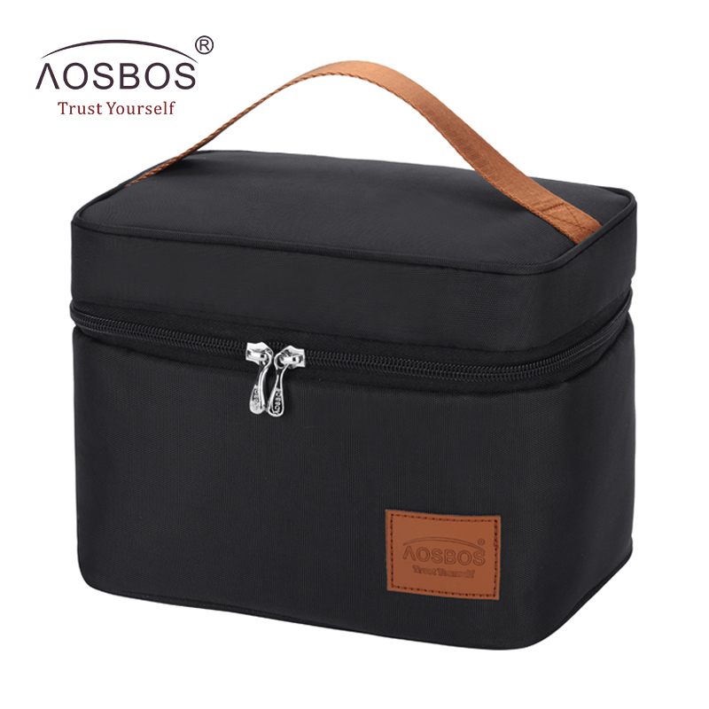 Aosbos Portable Food Picnic Cooler Box Bag Black Insulated Daily Lunch Bags  Fashion Thermal Storage Tote Bag For Women Men
