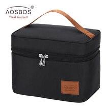 2c009bb5fd1a4 Aosbos المحمولة الغذاء نزهة حقيبة صندوق ملون أسود معزول أكياس الغداء  اليومية الأزياء صناديق تخزين الحرارية حقيبة للرجال النساء