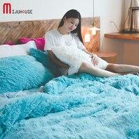 Новый голубой цвет постельное белье принцессы Обувь для девочек Постельное белье для полноразмерных кровать бархат зима Набор пододеяльни