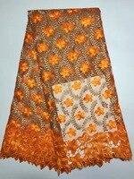 5 yards/lot 2017 Yüksek kalite Için Nijeryalı Fransız Dantel Afrika Dantel Kumaş Parti Elbise Turuncu/Altın Afrika dantel kumaş K-DB1079