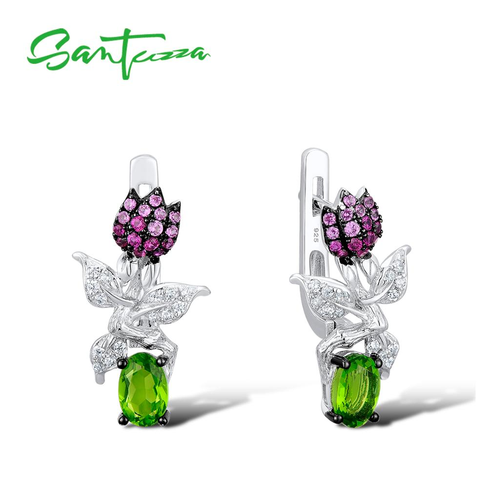 SANTUZZA Silver Earrings For Women Pure 925 Sterling Silver Chic Sweet Flower Earrings Magic Green Crystal Fashion Jewelry pair of chic rhombus faux crystal earrings for women