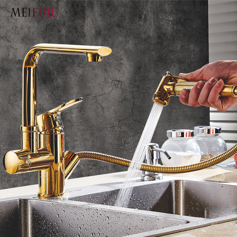 Gold kitchen faucets brass with Two Spouts Pull Out Spray Chrome Brass Kitchen Faucet Mixer Tap Sink Single Handle 360 swivel