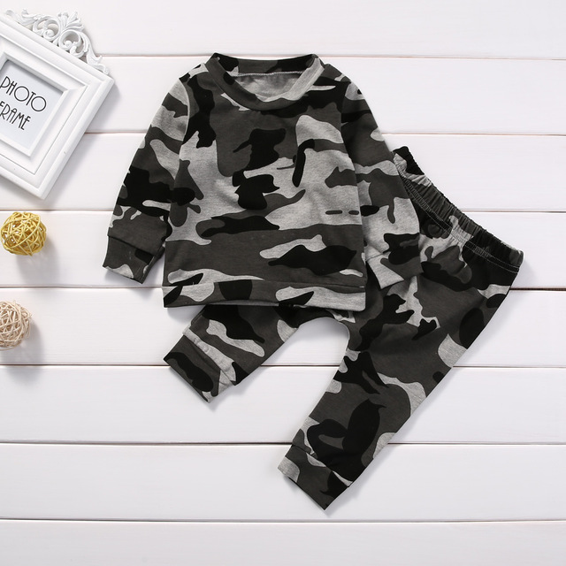 2pcs new baby clothing set Toddler Infant Camouflage Baby Boy Girl Clothes T-shirt Tops+Pants Outfits Set 2pcs set baby clothes set boy