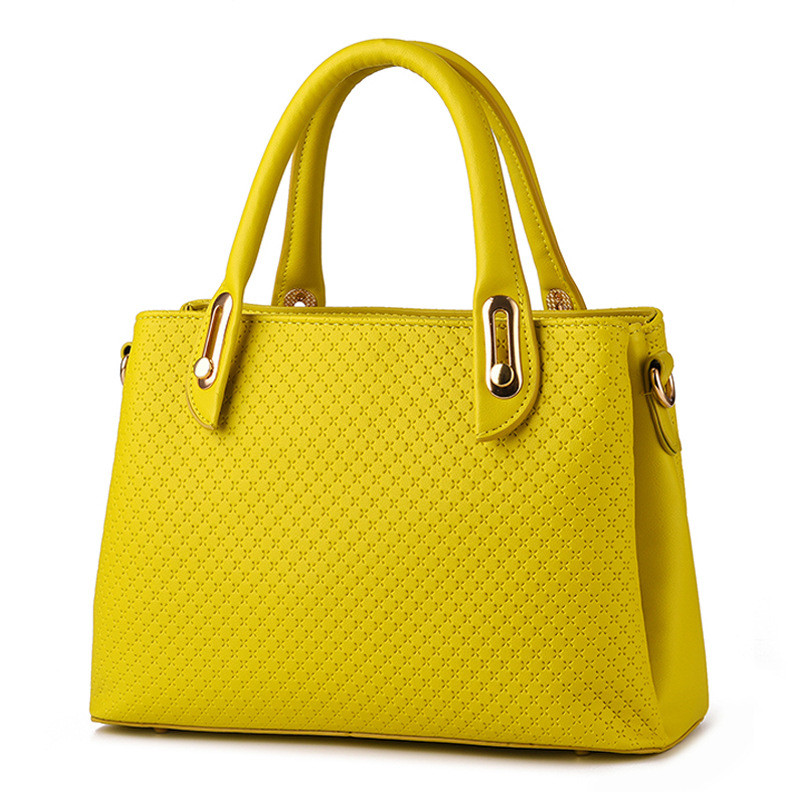 Fashion Candy Color Yellow PU Women Shoulder Bag Office Lady Handbag Casual Clutch Zipper elegant pu office lady business handbag casual clutch fashion women shoulder bag zipper pink