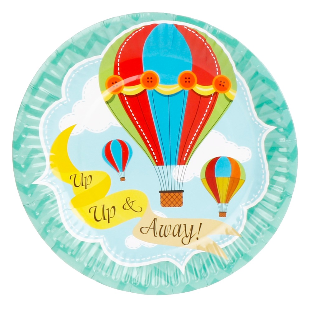 8pcs 7inch hot air balloon theme paper plates birthday for Balloon cake decoration