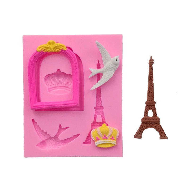 Crown Tower Pigeons Silicone Molds Handmade Fondant Cake