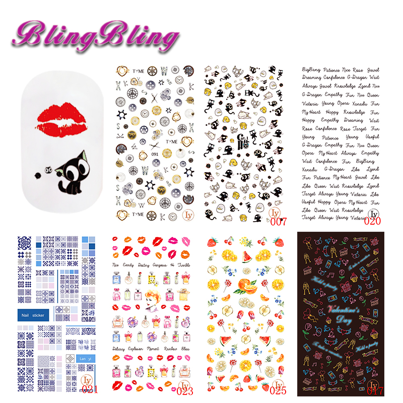 New Ultrathin Adhesive Nail Art Sticker Decals 3D Lover Angel Flower Cartoon Mix Designs DIY Nail Wraps Instant Manicure Decor nail foils patch 50sheets lot mix fashion designs adhesive nail decals full wraps beauty manicure tools nail sticker decorations