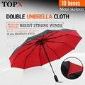 Сильный ветростойкий двойной полностью автоматический складной зонт 10K Большой стекловолоконный Зонт от дождя для женщин и мужчин бизнес З...