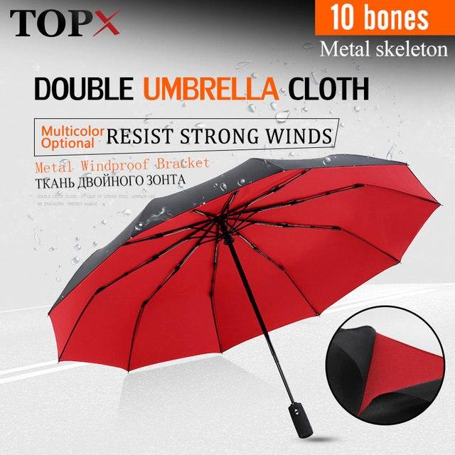 Paraguas plegable automático resistente al viento, paraguas grande de 10K de fibra de vidrio para lluvia, paraguas de negocios para hombres y mujeres