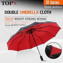 Silny wiatroodporny podwójny w pełni Parasol automatyczny składany 10K duży Parasol z włókna szklanego deszcz dla kobiet mężczyzn parasole biznesowe