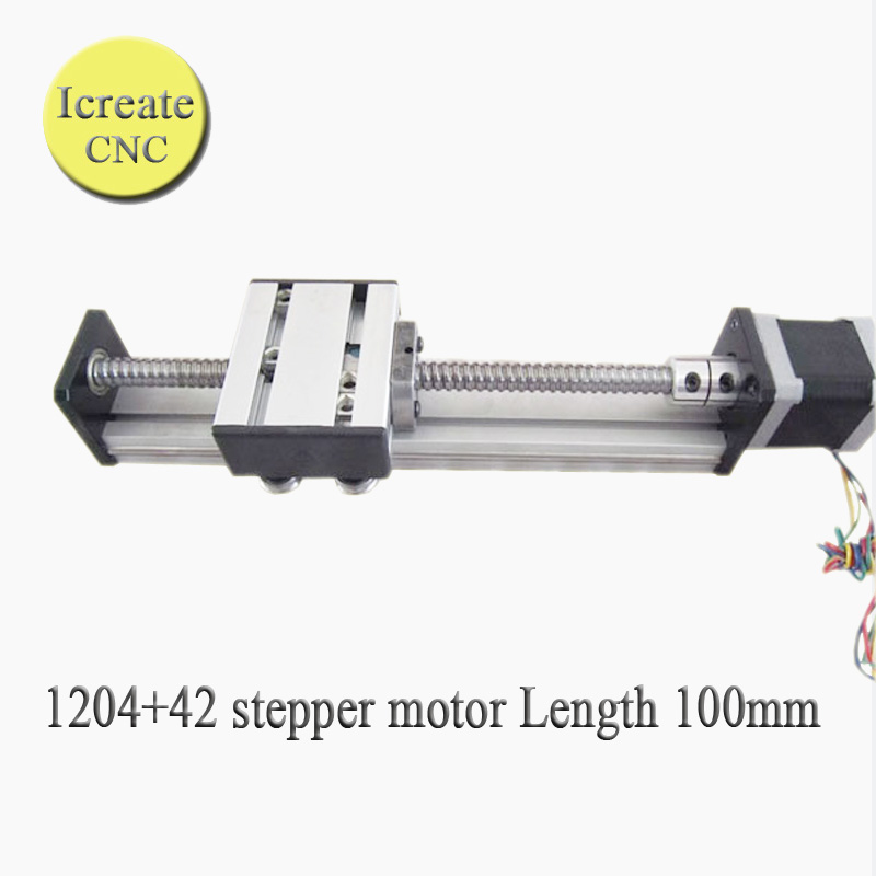 Free shipping 100mm 1204 Travel Length Linear Guide Rail CNC Stage stroke ball screw cnc linear rail guide for laser cutting free shipping to argentina 2 pcs hgr25 3000mm and hgw25c 4pcs hiwin from taiwan linear guide rail