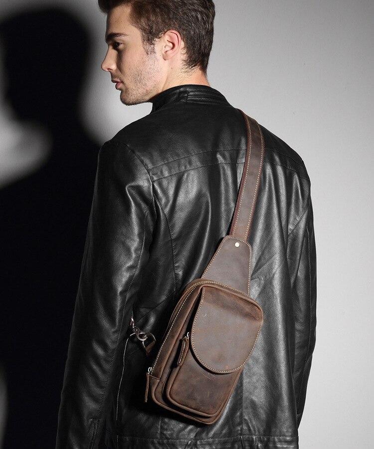 High Quality Men Crazy Horse Leather Chest Bag Vintage Casual Small Messenger Shoulder Bag Male Crossbody Bag Phone Pouch  #023 romanson tm 9248 mj wh