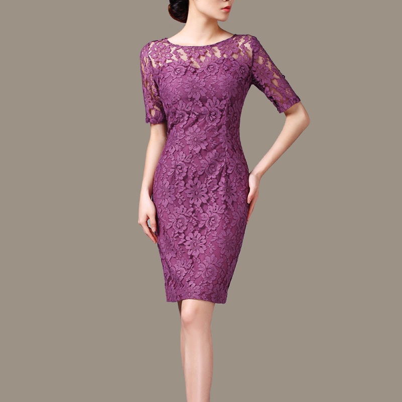 New Fashion women sexy elegant Lace Dress ladies Party prom formal ...