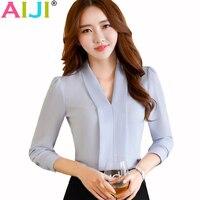 AIJI 2017 Fashion Sexy V Neck Shirt Women OL Career Temperament Formal Long Sleeve Chiffon Blouse
