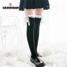 Bas en coton Sexy pour femmes, haut en dentelle, chaussettes montantes au dessus des genoux, jambières, accessoires de Cosplay, Lolita