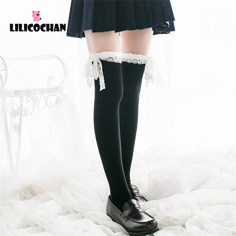 Womens Anime Cosplay <font><b>Lolita</b></font> Maid Girls Lace Top Thigh High Socks Over Knee Leg Warmer Leggings Sexy Cotton Stocking image