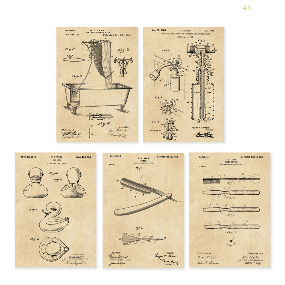 Vintage patent art on Bathroom bathtub toy duck razor shower head&liquid soap toothbrush poster 5 in 1 wall art unframed
