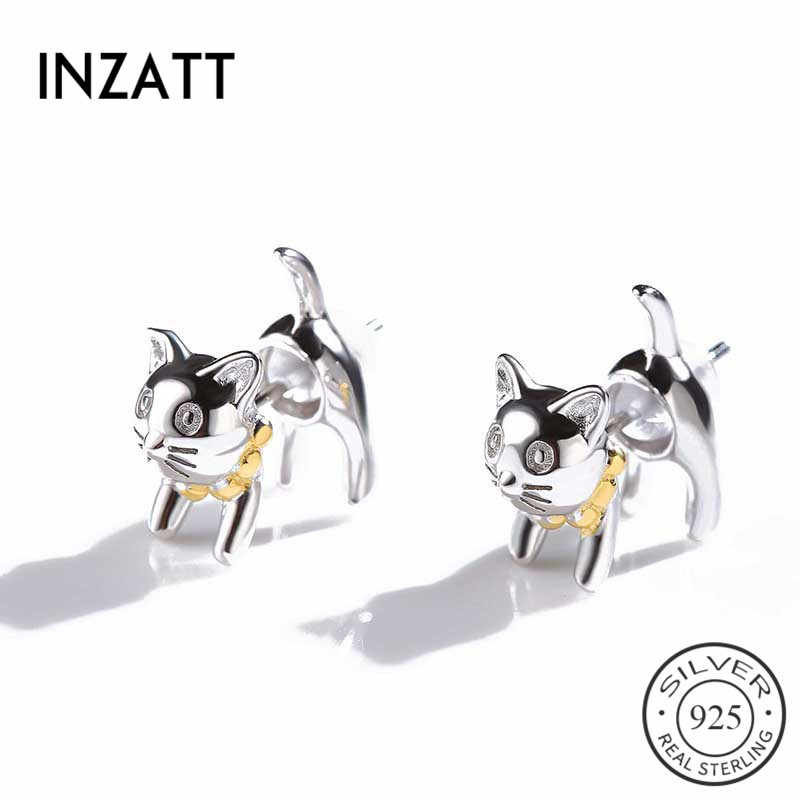 INZATT Cute Real 925 Sterling Silver Lovely Cat Stud Earrings For Young Women Fashion Jewelry Accessories Brincos For Teen Girl