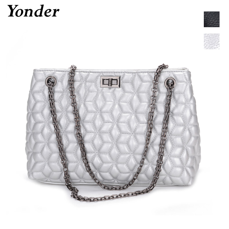 Yonder fashion women messenger bags leather crossbody bag ladies designer handbags female flower print chain shoulder bag purse chain houndstooth print crossbody bag