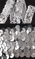 Wholesale 30 yards 1 Inch Silver 3 Row Hand Beaded Trim Elastic Stretch Sequin Sewing Trim T72