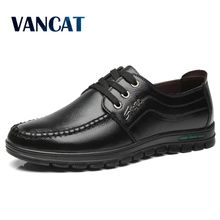 Vancat Brand Genuine Leather Men Shoes Autumn Fashion Lace-Up Casual Shoes Business Walking Men Dress Shoes Zapatos Hombres