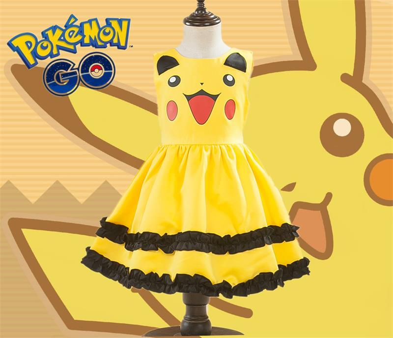 Pikachu Girls Cute Ball Gown Dress Kids Lovely Dress Anime Cosplay Pokemon Go Costumes With Bowknot Birthday Gift Party Dress