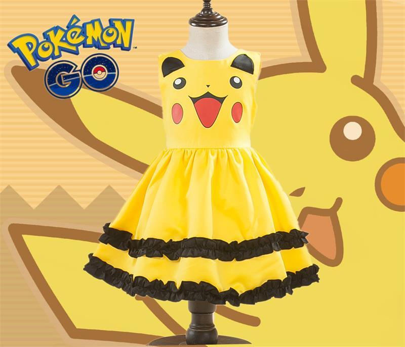 Pikachu Sveglio Delle Ragazze Abito di Sfera Dei Capretti del Vestito Bello Vestito di Cosplay del Anime Pokemon Go Costumi Con Il Bowknot Regalo Di Compleanno Vestito Da Partito