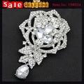 Luxury Wedding Party Flower Leaf Heart Bouquet Silver Plated Crystal Long Brooch Pin Women CZ Diamond Large Huge Tassel Brooch